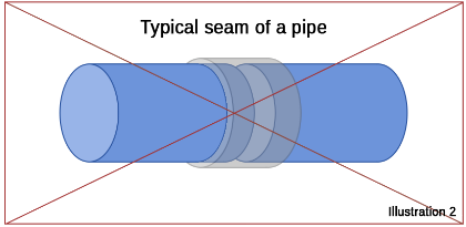 Typical seam of pipe