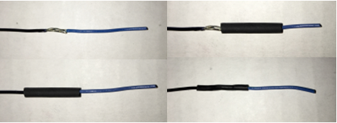 four pictures of solder and shrink on individual wires